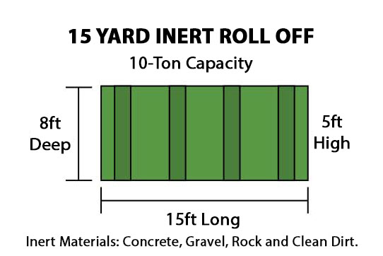 15 Yard Inert Roll Off Container 10-Ton Capacity - 15ft